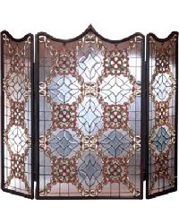 Victorian Beveled Folding Fireplace Screen by