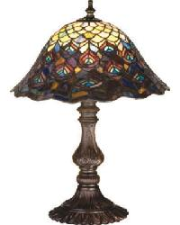 Tiffany Peacock Feathers Accent Lamp by