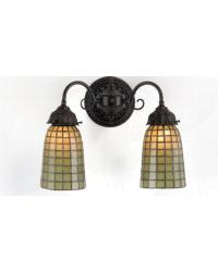 Geometric Green 2 Lt Wall Sconce by