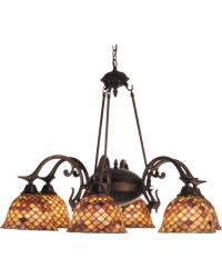 Tiffany Fishscale 6 Lt Chandelier by
