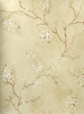 Blue Mountain Wallcovering Soft Floral Trail  Design by Color  Beige
