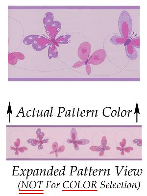 Brewster Wallcovering Flutter-By Border Purple Butterflies Border Purple Wall Borders