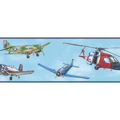 York Wallcovering Air Rescue Border                                  Blues                Boys Wallpaper