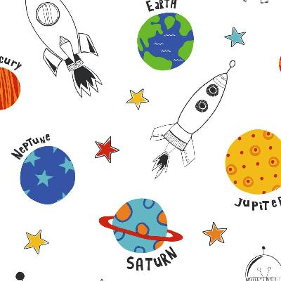 York Wallcovering Rocket Space Sidewal                               White/Off Whites     Boys Wallpaper