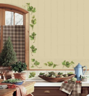 York Wallcovering Evergreen Ivy Peel & Stick Wall Decals Green Wall Murals and Wall Stickers