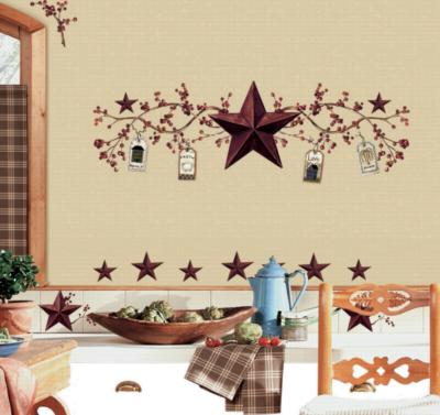 York Wallcovering Country Stars & Berries Peel & Stick Wall Decals Multi Wall Murals and Wall Stickers