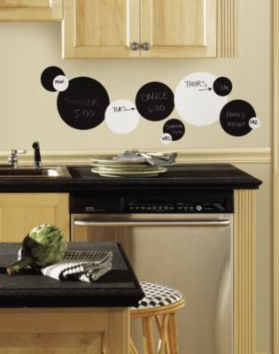 York Wallcovering Black and White Chalkboard Dots Peel & Stick Wall Decals Black Wall Murals and Wall Stickers