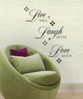 York Wallcovering Live Love Laugh Peel & Stick Wall Decals Black Wall Murals and Wall Stickers