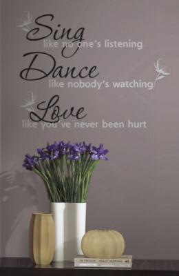York Wallcovering Dance, Sing, Love Peel & Stick Wall Decals Black Wall Murals and Wall Stickers
