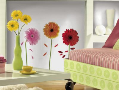 York Wallcovering Small Gerber Daisies Peel & Stick Wall Decals Multi Wall Murals and Wall Stickers