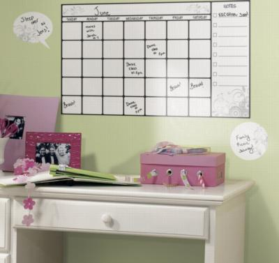 York Wallcovering Dry Erase Calendar Peel & Stick Wall Decal White Wall Murals and Wall Stickers