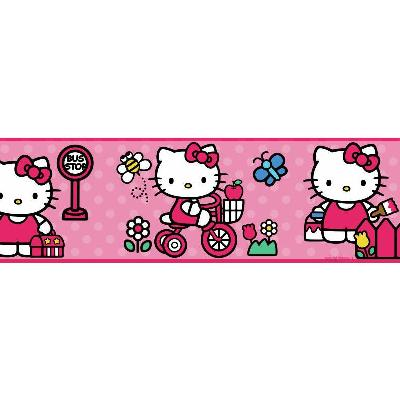 York Wallcovering Hello Kitty - The World of Hello Kitty Peel & Stick Border Multi Wall Borders
