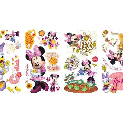 York Wallcovering Mickey & Friends - Minnie Mouse Barnyard Cuties Peel & Stick Wall Decals Pink RoomMates