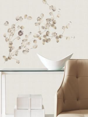 York Wallcovering Silver Dollar Branch Add On Peel & Stick Wall Decals Silver Wall Stickers Decals