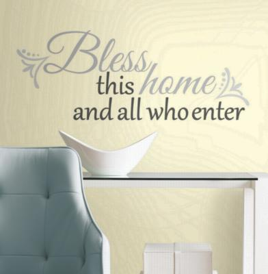 York Wallcovering Bless this Home Peel & Stick Wall Decals Grey Wall Murals and Wall Stickers