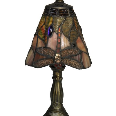 Dale Tiffany Dacia Dragonfly Tiffany Accent Lamp Antique Brass Small Tiffany Accent Light