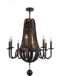 Barrel Stave Madera 8 LT Chandelier by
