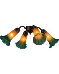 Amber Green Pond Lily 4 LT Fan Light by
