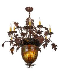 Greenbriar Oak 9 Arm Chandelier by