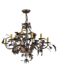 Greenbriar Oak Antique Copper 9 Arm Chandelier Hardware by