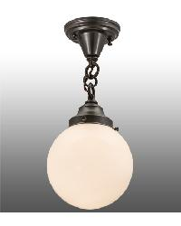 Revival Schoolhouse White Globe Flushmount by