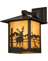 Seneca Deer at Lake Solid Mount Wall Sconce by