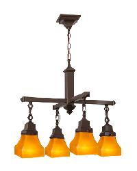 Bungalow Frosted Amber 4 LT Chandelier by
