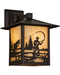 Seneca Fly Fisherman Solid Mount Wall Sconce by