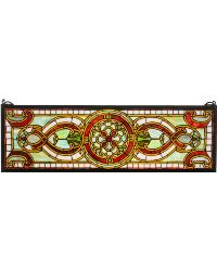 Evelyn in Lapis Transom Stained Glass Window by