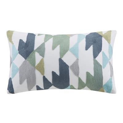 Hampton Hill Konya Embroidered Oblong Pillow Blue Contemporary Pillows