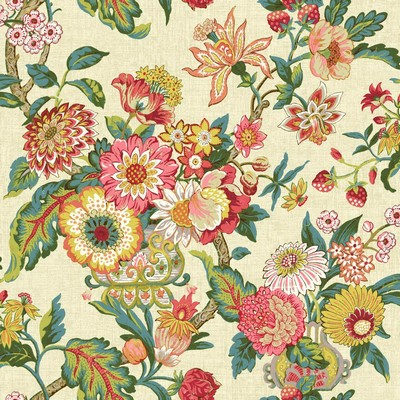 Waverly Wallpaper Global Chic Graceful Garden Wallpaper beige, yellow, pink, red, orange, dark green, yell Ethnic and Global