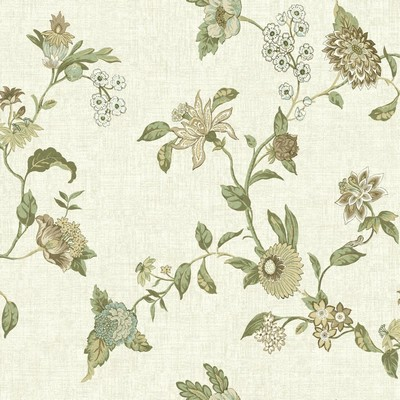 Waverly Wallpaper Global Chic Graceful Garden Trail Wallpaper cream, beige, tan, brown, light green, dark green, Ethnic and Global