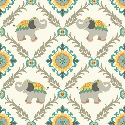 Waverly Wallpaper BOLLYWOOD                      white, aqua light grey, turquoise, yellow, orange, Animals