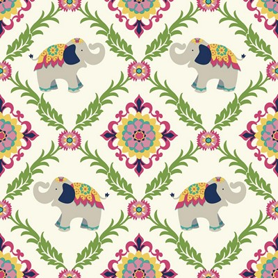 Waverly Wallpaper BOLLYWOOD                      white, pink, green, yellow, turquoise, navy blue Animals