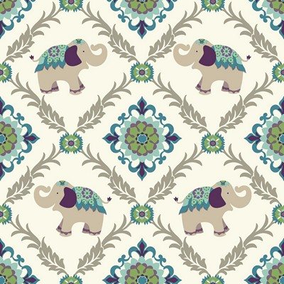 Waverly Wallpaper BOLLYWOOD                      white, beige, teal, purple, aqua, yellow/green, ta Animals