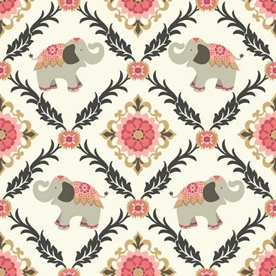Waverly Wallpaper BOLLYWOOD                      white, pink, black, coral, metallic gold Animals