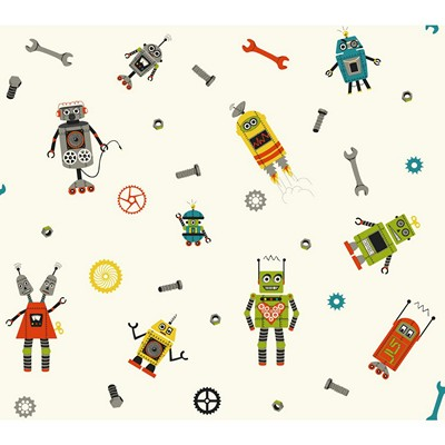 Waverly Wallpaper SOME ASSEMBLY REQUIRED         white, teal, orange, yellow, green, grey, black Boys Wallpaper