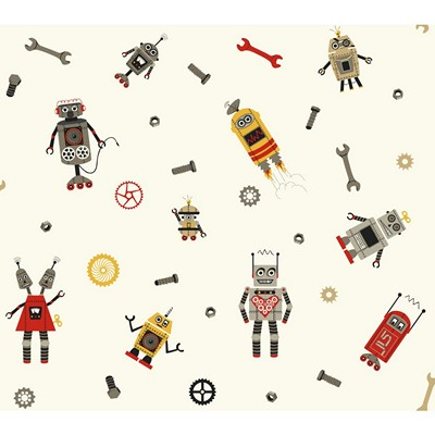 Waverly Wallpaper SOME ASSEMBLY REQUIRED         white, golden yellow, red, tan, medium grey, dark  Boys Wallpaper