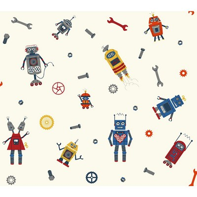 Waverly Wallpaper SOME ASSEMBLY REQUIRED         white, dark blue, red, orange, yellow, grey, navy  Boys Wallpaper