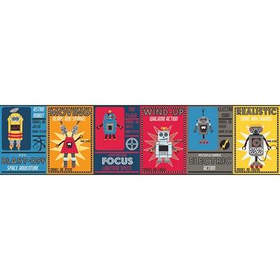 Waverly Wallpaper ROBOTIC                        red, navy blue, bright blue, dark grey, light blue Boys Wallpaper
