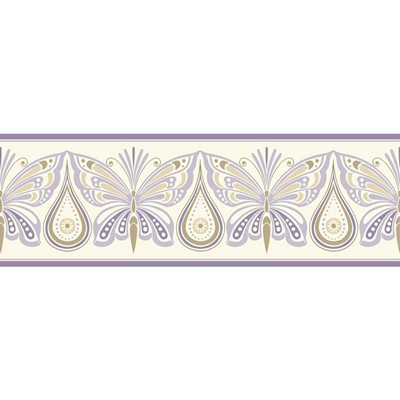 Waverly Wallpaper IPANEMA BORDER                 white, purple, pale gold, gold glitter Animals