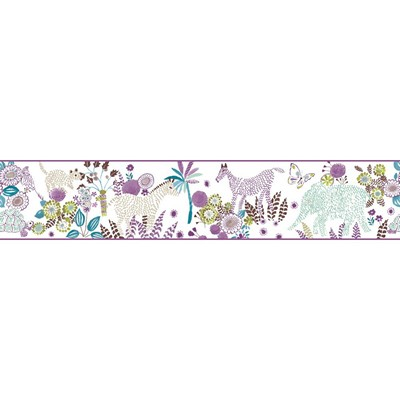 Waverly Wallpaper DAY DREAM                      white, purple, teal, brown, yellow/green   Animals