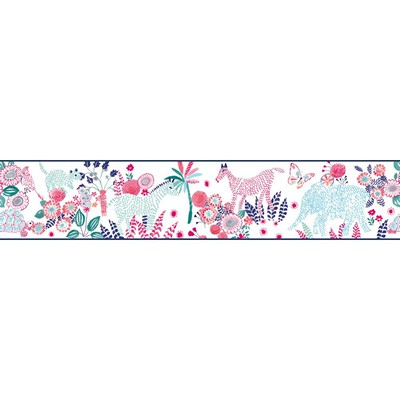 Waverly Wallpaper DAY DREAM                      white, navy, pink, turquoise, teal Animals
