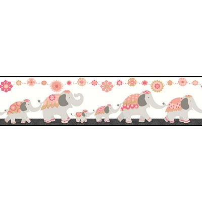 Waverly Wallpaper FOLLOW THE LEADER              white, pink, black, coral, metallic gold Animals