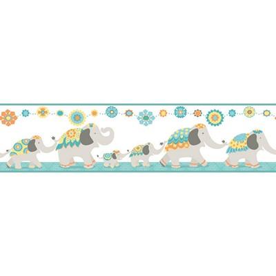 Waverly Wallpaper FOLLOW THE LEADER              white, qua light grey, turquoise, yellow, orange,  Animals