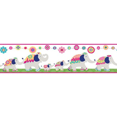 Waverly Wallpaper FOLLOW THE LEADER              white, pink, green, yellow, turquoise, navy blue  Animals