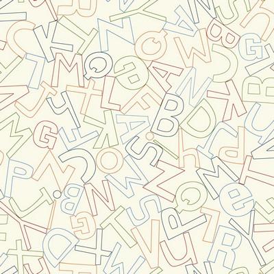 Waverly Wallpaper ALPHABET SOUP                  white, red, blue, orange, navy blue, green Boys Wallpaper