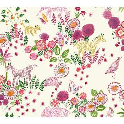 Waverly Wallpaper REVERIE                        white, pink, green, yellow/gold Animals