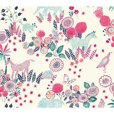Waverly Wallpaper REVERIE                        white, navy, pink, turquoise, teal Animals
