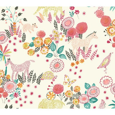 Waverly Wallpaper REVERIE                        white, coral, orange, yellow/green, teal Animals